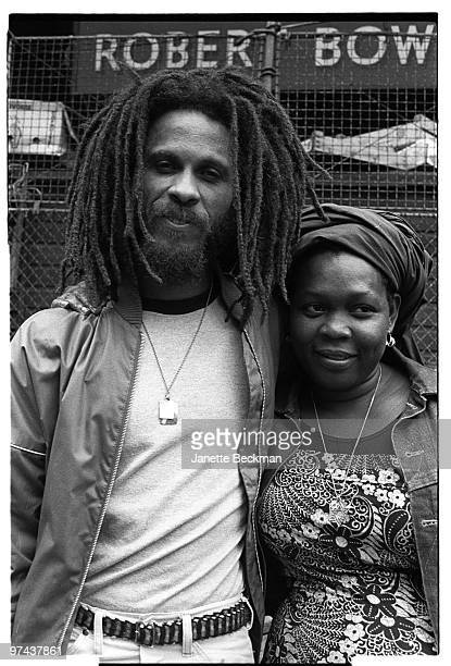 Reggae musician Cedric Myton poses for a portrait with his wife Yvonne London in 1980 in London England