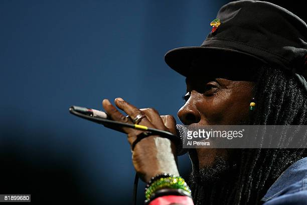 Reggae musician Freddie McGregor performs at Celebrate Brooklyn at the Prospect Park Bandshell on July 10 2008 in Brooklyn New York