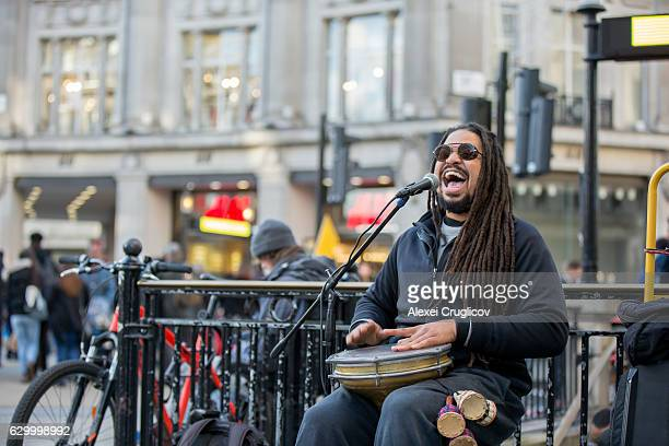 Reggae singer at urban street