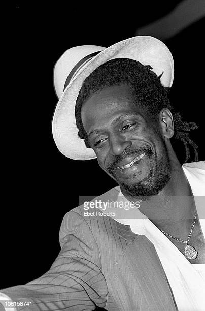 NEW YORK MARCH 31 Reggae singer Gregory Isaacs performs live on stage at Radio City Music Hall in New York City on March 31 1985