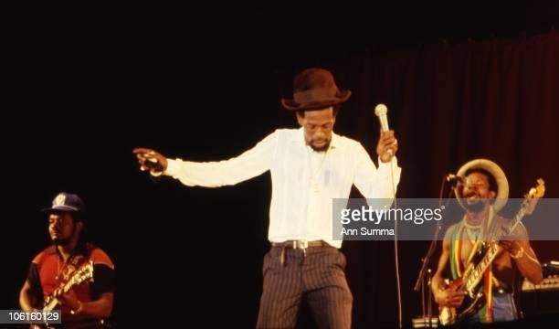 Reggae singer Gregory Issacs performs at Reggae Sunsplash in 1981 in Montego Bay Jamaica