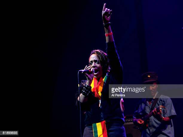 Reggae singer Nikeisha Patterson sings with musician Freddie McGregor when he performs at Celebrate Brooklyn at the Prospect Park Bandshell on July...