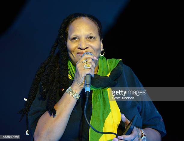 Reggae singer Sister Nancy performs onstage at the Santa Monica Pier on August 13 2015 in Santa Monica California