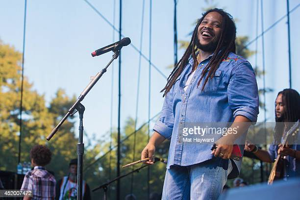 Reggae singer Stephen Marley performs on stage during the Summer Sessions tour on July 10 2014 in Redmond Washington