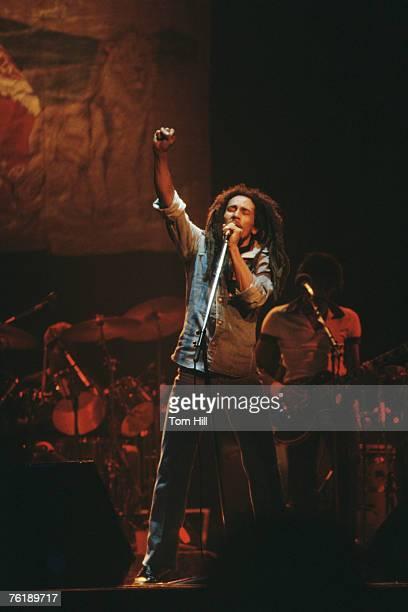 Reggae singer-guitarist Bob Marley performs at The Fabulous Fox Theater on November 12, 1979 in Atlanta, Georgia.