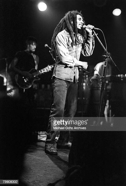 Reggae star Bob Marley performs live at the Roxy on November 27 1978 in Los Angeles CA