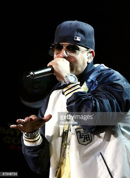 Reggaeton artist Daddy Yankee performs onstage during 1027 KIISFM's Wango Tango 2006 concert held at the Verizon Wireless Amphitheater on May 6 2006...