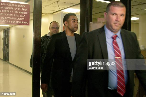 Reggaeton artist Don Omar leaves the Policia Comandancia Area Bayamon after being arrested for suspicion of domestic violence for allegedly...