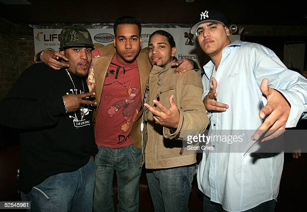 Reggaeton artists Aventura pose for a photo at the LIFEbeat Hearts Voices Reggaeton Explosion Aids Benefit Concert at Spirit March 31 2005 in New...