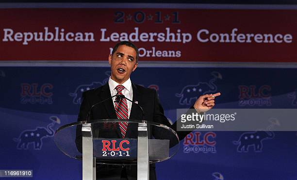 Reggie Brown impersonates U.S. President Barack Obama during a comedy sketch at the 2011 Republican Leadership Conference on June 18, 2011 in New...