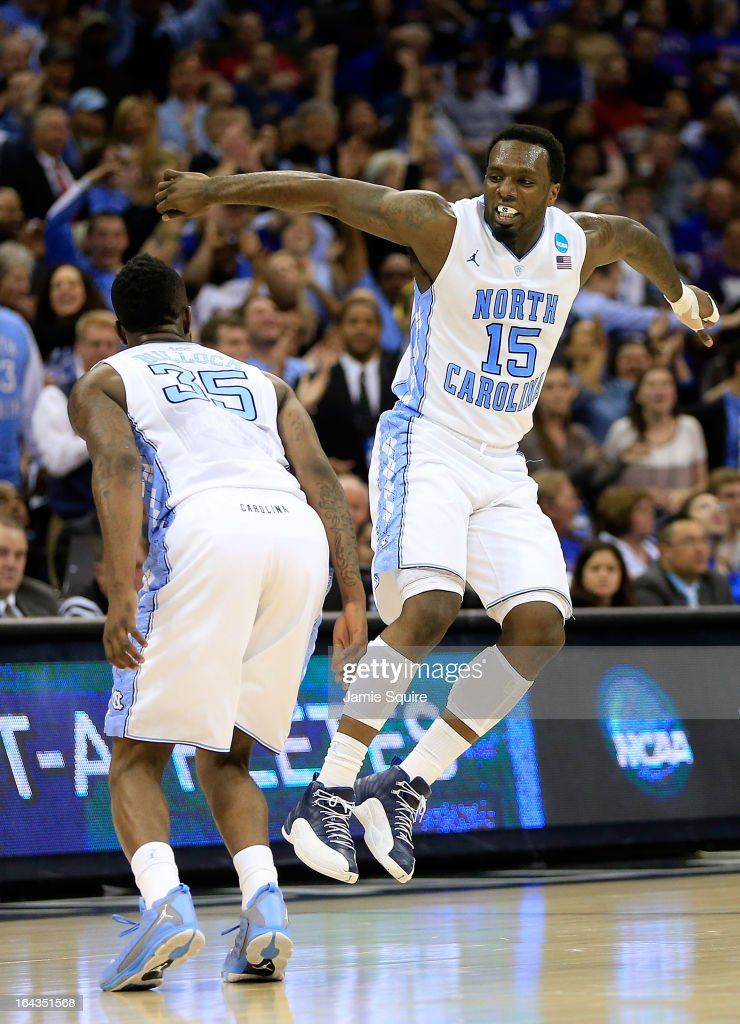 Reggie Bullock #35 and P.J. Hairston #15 of the North Carolina Tar Heels celebrate a moment in the second half against the Villanova Wildcats during the second round of the 2013 NCAA Men's Basketball Tournament at the Sprint Center on March 22, 2013 in Kansas City, Missouri.