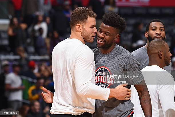 Reggie Bullock of the Detroit Pistons and Blake Griffin of the LA Clippers greet before the game on November 7 2016 at the STAPLES Center in Los...