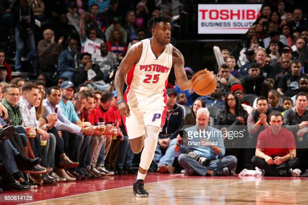 Reggie Bullock of the Detroit Pistons brings the ball up court during the game against the Cleveland Cavaliers on March 9 2017 at The Palace of...