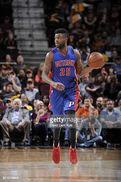 Reggie Bullock of the Detroit Pistons brings the ball up court against the Cleveland Cavaliers on April 13 2016 at Quicken Loans Arena in Cleveland...