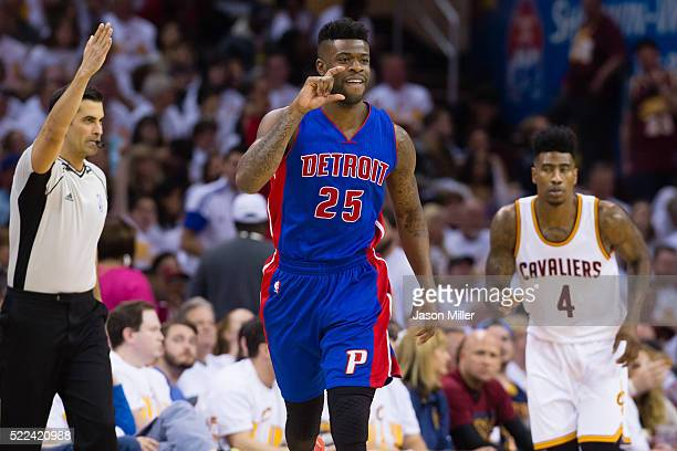 Reggie Bullock of the Detroit Pistons celebrates after hitting a three point shot during the second half of the NBA Eastern Conference quarterfinals...