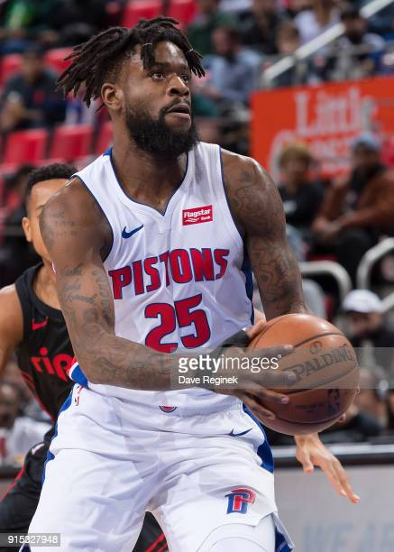 Reggie Bullock of the Detroit Pistons controls the ball against the Portland Trail Blazers during an NBA game at Little Caesars Arena on February 5...