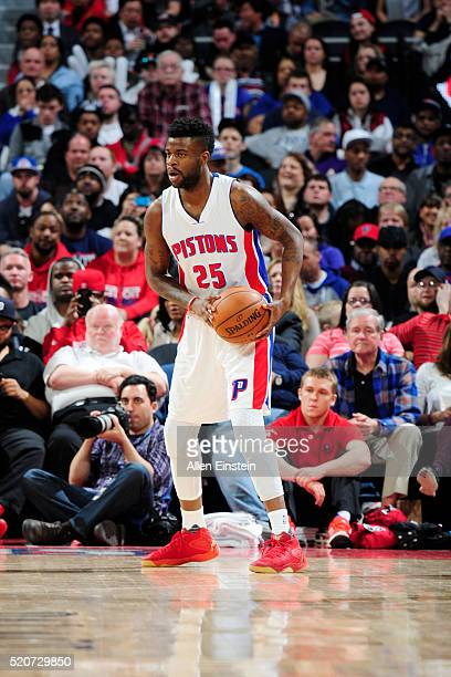 Reggie Bullock of the Detroit Pistons defends the ball against the Miami Heat during the game on April 12 2016 at The Palace of Auburn Hills in...