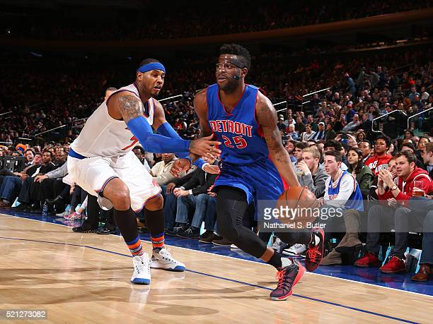Reggie Bullock of the Detroit Pistons drives to the basket against Carmelo Anthony of the New York Knicks on March 5 2016 at Madison Square Garden in...