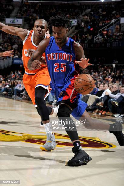 Reggie Bullock of the Detroit Pistons drives to the hoop against James Jones of the Cleveland Cavaliers on March 14 2017 at Quicken Loans Arena in...