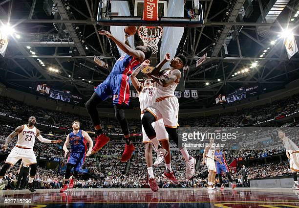 Reggie Bullock of the Detroit Pistons goes to the basket against the Cleveland Cavaliers in Game Two of the Eastern Conference Quarterfinals during...