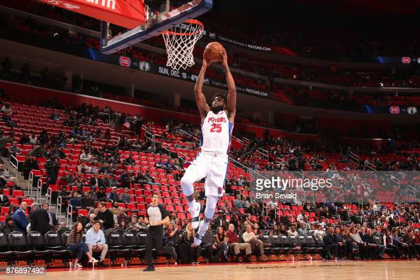 Reggie Bullock of the Detroit Pistons goes to the basket against the Cleveland Cavaliers on November 20 2017 at Little Caesars Arena in Detroit...