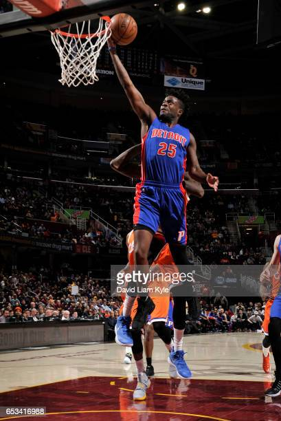 Reggie Bullock of the Detroit Pistons goes up for the shot against the Cleveland Cavaliers on March 14 2017 at Quicken Loans Arena in Cleveland Ohio...