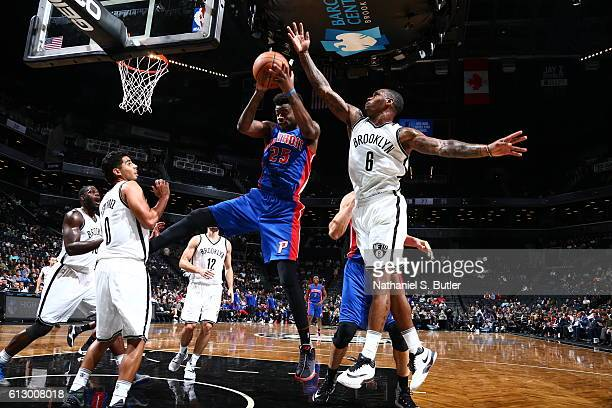 Reggie Bullock of the Detroit Pistons grabs the rebound against the Brooklyn Nets on October 6 2016 at Barclays Center in the Brooklyn borough of New...