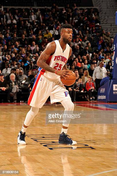 Reggie Bullock of the Detroit Pistons handles the ball against the Washington Wizards on April 8 2016 at The Palace of Auburn Hills in Auburn Hills...