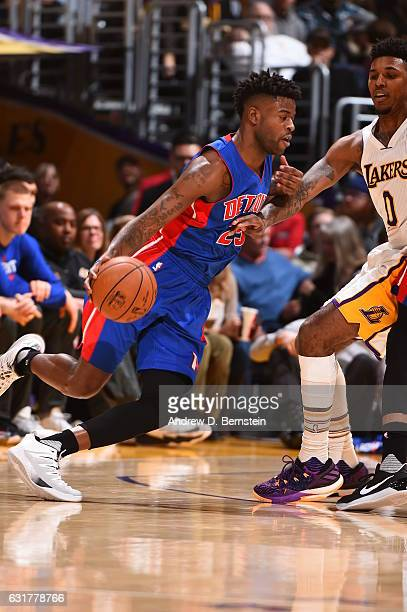 Reggie Bullock of the Detroit Pistons handles the ball against the Los Angeles Lakers on January 15 2017 at STAPLES Center in Los Angeles California...