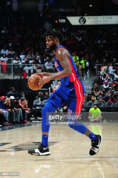 Reggie Bullock of the Detroit Pistons handles the ball against the Atlanta Hawks on December 14 2017 at Philips Arena in Atlanta Georgia NOTE TO USER...