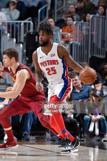 Reggie Bullock of the Detroit Pistons handles the ball against the Cleveland Cavaliers on January 28 2018 at Quicken Loans Arena in Cleveland Ohio...