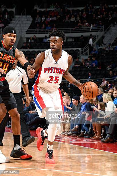 Reggie Bullock of the Detroit Pistons handles the ball during the game against the Atlanta Hawks on January 18 2017 at The Palace of Auburn Hills in...