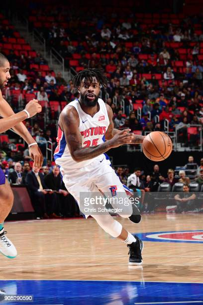 Reggie Bullock of the Detroit Pistons handles the ball during the game against the Charlotte Hornets on January 15 2018 at Little Caesars Arena in...