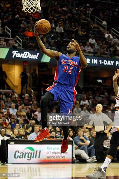 Reggie Bullock of the Detroit Pistons in action against the Cleveland Cavaliers at Quicken Loans Arena on April 13 2016 in Cleveland Ohio The Pistons...