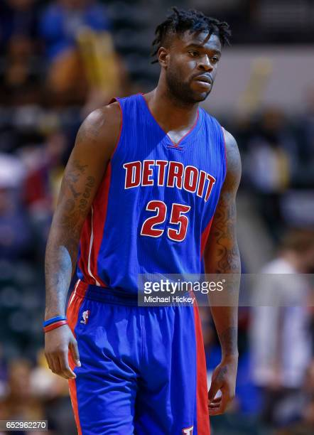 Reggie Bullock of the Detroit Pistons is seen during the game against the Indiana Pacers at Bankers Life Fieldhouse on March 8 2017 in Indianapolis...