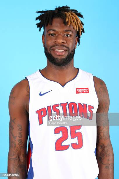 Reggie Bullock of the Detroit Pistons poses for a head shot during media day at Little Caesars Arena in Detroit Michigan on September 25 2017 NOTE TO...