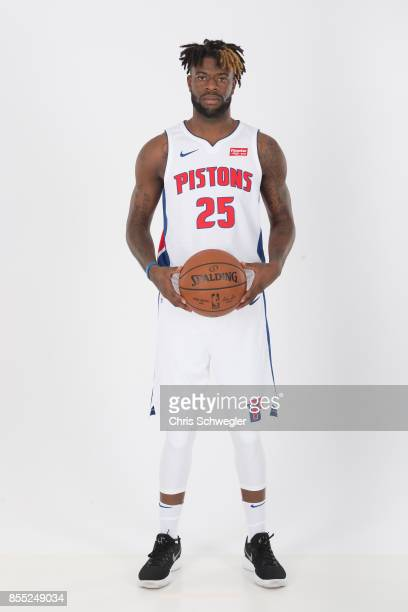 Reggie Bullock of the Detroit Pistons poses for a portrait during Media Day on September 25 2017 at the Little Caesars Arena Detroit MI NOTE TO USER...