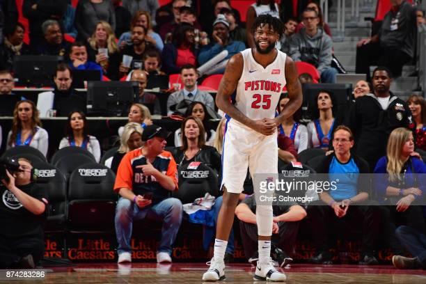 Reggie Bullock of the Detroit Pistons reacts during the game against the Atlanta Hawks on November 10 2017 at Little Caesars Arena in Auburn Hills...