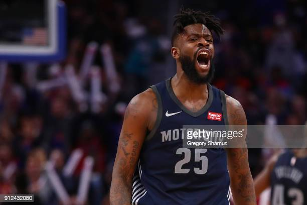Reggie Bullock of the Detroit Pistons reacts to a three point basket while playing the Cleveland Cavaliers at Little Caesars Arena on January 30 2018...