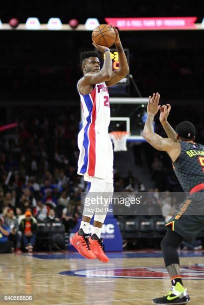 Reggie Bullock of the Detroit Pistons shoots against the Atlanta Hawks at the Palace of Auburn Hills on January 18 2017 in Auburn Hills Michigan NOTE...