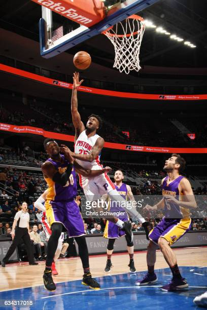 Reggie Bullock of the Detroit Pistons shoots the ball against the Los Angeles Lakers on February 8 2017 at The Palace of Auburn Hills in Auburn Hills...