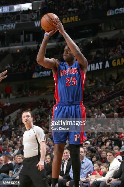 Reggie Bullock of the Detroit Pistons shoots the ball against the Chicago Bulls on March 22 2017 at the United Center in Chicago Illinois NOTE TO...