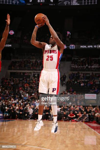 Reggie Bullock of the Detroit Pistons shoots the ball against the Toronto Raptors on April 5 2017 at The Palace of Auburn Hills in Auburn Hills...
