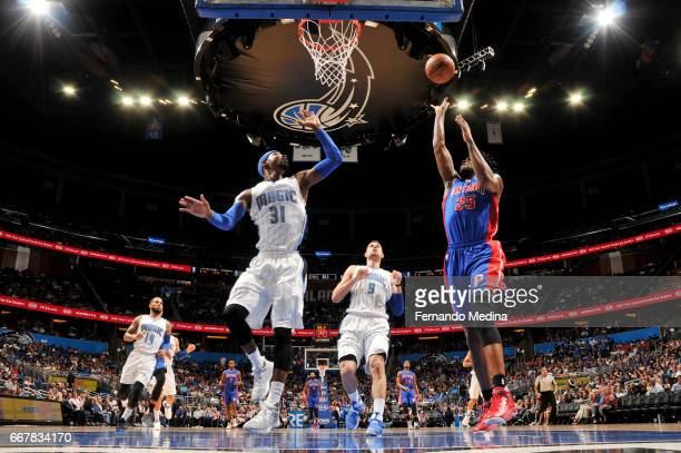 Reggie Bullock of the Detroit Pistons shoots the ball against the Orlando Magic on April 12 2017 at the Amway Center in Orlando Florida NOTE TO USER...