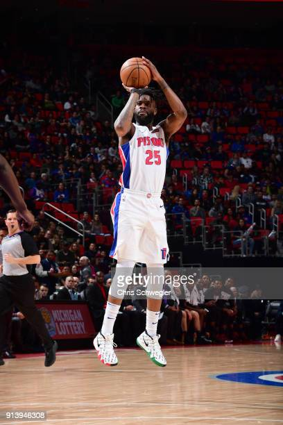 Reggie Bullock of the Detroit Pistons shoots the ball against the Miami Heat on February 3 2018 at Little Caesars Arena in Detroit Michigan NOTE TO...