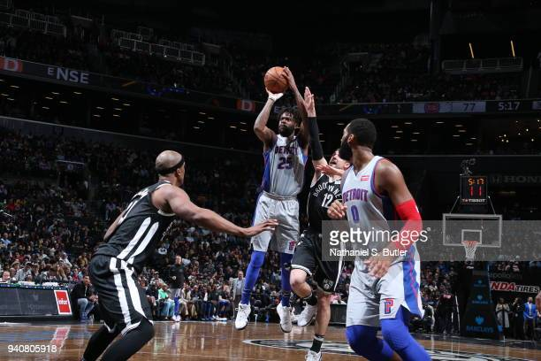 Reggie Bullock of the Detroit Pistons shoots the ball against the Brooklyn Nets on April 1 2018 at Barclays Center in Brooklyn New York NOTE TO USER...