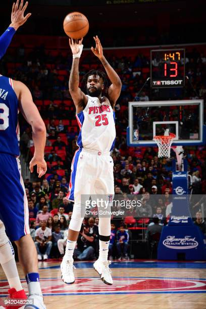 Reggie Bullock of the Detroit Pistons shoots the ball against the Philadelphia 76ers on April 4 2018 at Little Caesars Arena in Detroit Michigan NOTE...