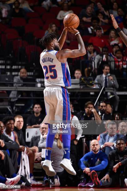 Reggie Bullock of the Detroit Pistons shoots the ball during the game against the Houston Rockets on March 22 2018 at the Toyota Center in Houston...