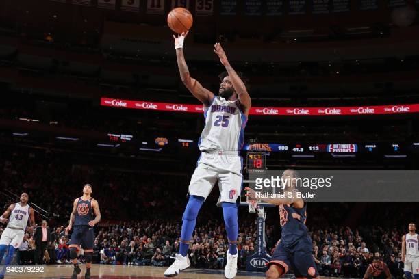 Reggie Bullock of the Detroit Pistons shoots the ball during the game against the New York Knicks on March 31 2018 at Madison Square Garden in New...