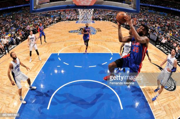 Reggie Bullock of the Detroit Pistons stb against the Orlando Magic on April 12 2017 at the Amway Center in Orlando Florida NOTE TO USER User...